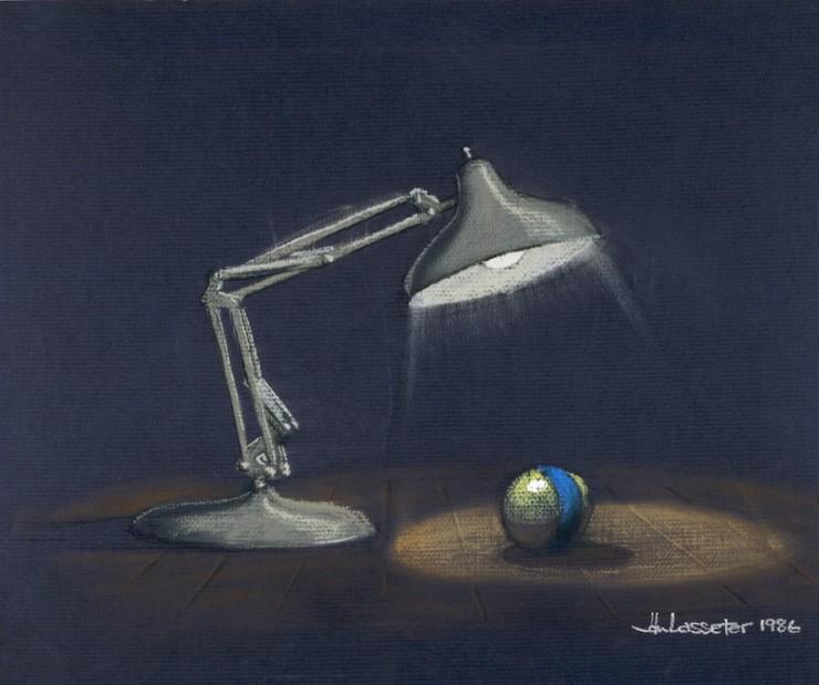 ジョン・ラセター|≪オープニング・シークエンス≫|『ルクソーJr.』(1986年)|複製(パステル/紙)|©Disney/Pixar