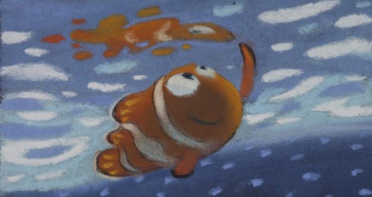 ラルフ・エッグルストン|≪遠足のシーンのパステル画≫|『ファインディング・ニモ』(2003年)|パステル/紙|©Disney/Pixar