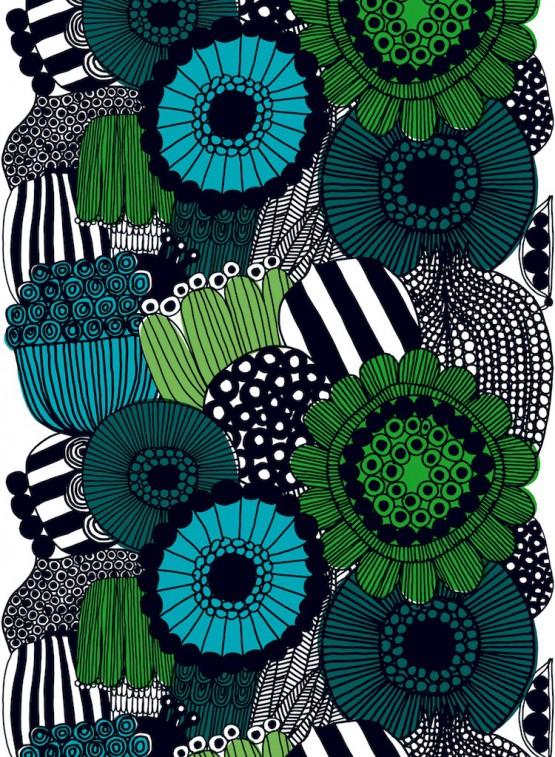 ファブリック≪シィールトラプータルハ≫(市民菜園)、図案デザイン:マイヤ・ロウエカリ、2009年 Siirtolapuutarha pattern designed for Marimekko by Maija Louekari in 2009