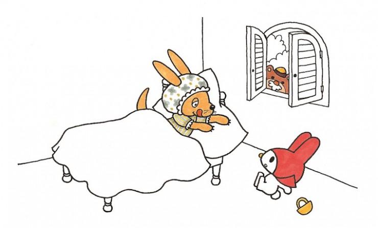 社内プレゼンテーション用に描いた描いた、童話「赤ずきん」がモチーフのマイメロディ最初期の原画 1970年代