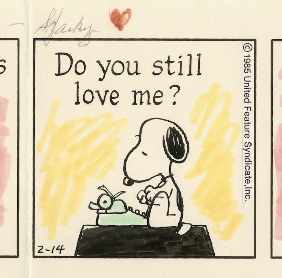 1985年2月14日 シュルツ氏がバレンタインデーに夫人に贈った「ピーナッツ」原画(部分)