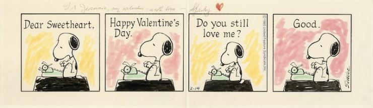 1985年2月14日 シュルツ氏がバレンタインデーに夫人に贈った「ピーナッツ」原画