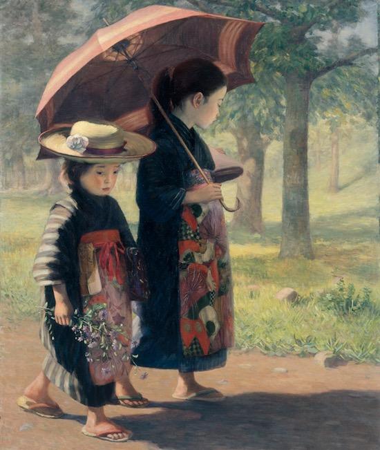 児島虎次郎「登校」 1906年 高梁市成羽美術館蔵