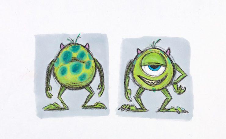 リッキー・ニエルヴァ《マイク:色彩の習作》『モンスターズ・インク』(2001年)マーカー、鉛筆/フォトコピー ©Disney/Pixar